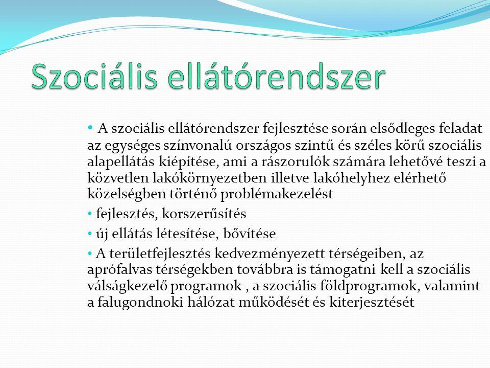 A szociális ellátórendszer fejlesztése során elsődleges feladat az egységes színvonalú országos szintű és széles körű szociális alapellátás kiépítése,