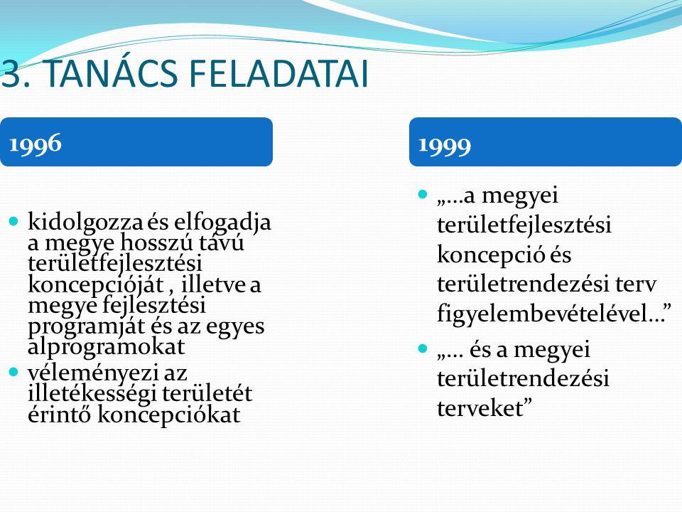 3. TANÁCS FELADATAI kidolgozza és elfogadja a megye hosszú távú területfejlesztési koncepcióját, illetve a megye fejlesztési programját és az egyes al