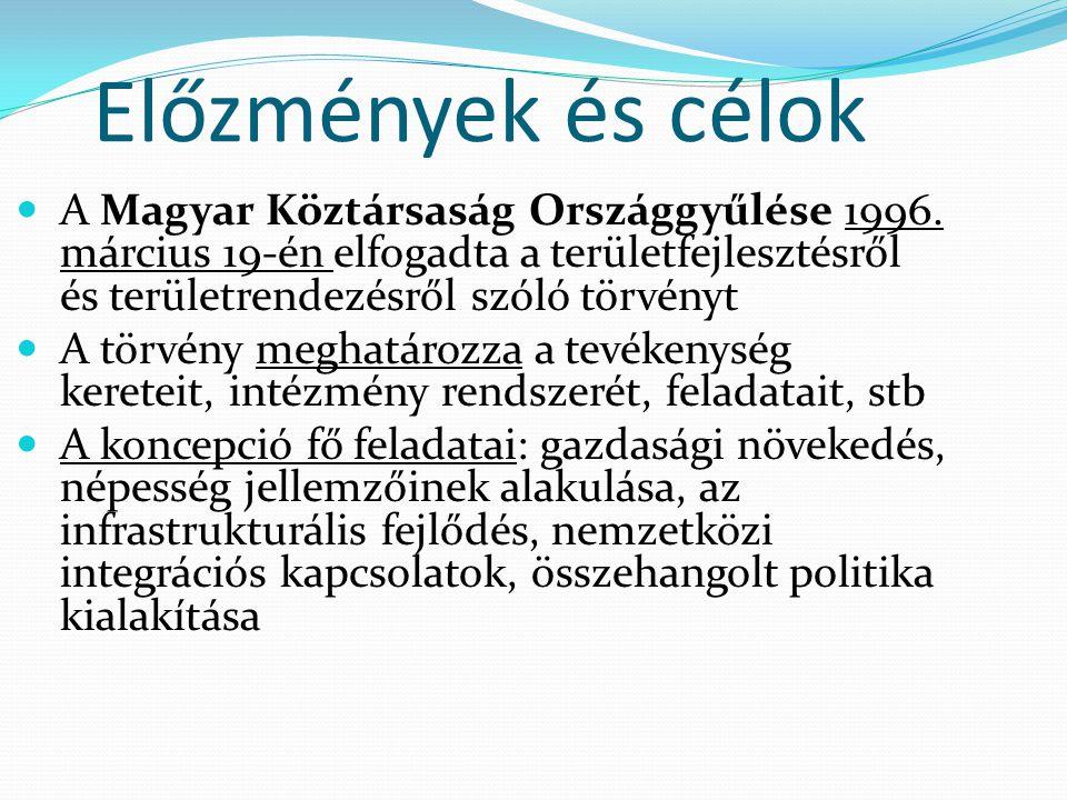 Előzmények és célok A Magyar Köztársaság Országgyűlése 1996. március 19-én elfogadta a területfejlesztésről és területrendezésről szóló törvényt A tör