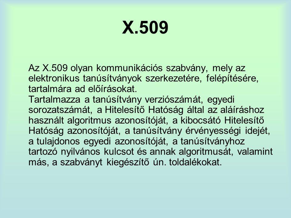X.509 Az X.509 olyan kommunikációs szabvány, mely az elektronikus tanúsítványok szerkezetére, felépítésére, tartalmára ad előírásokat.