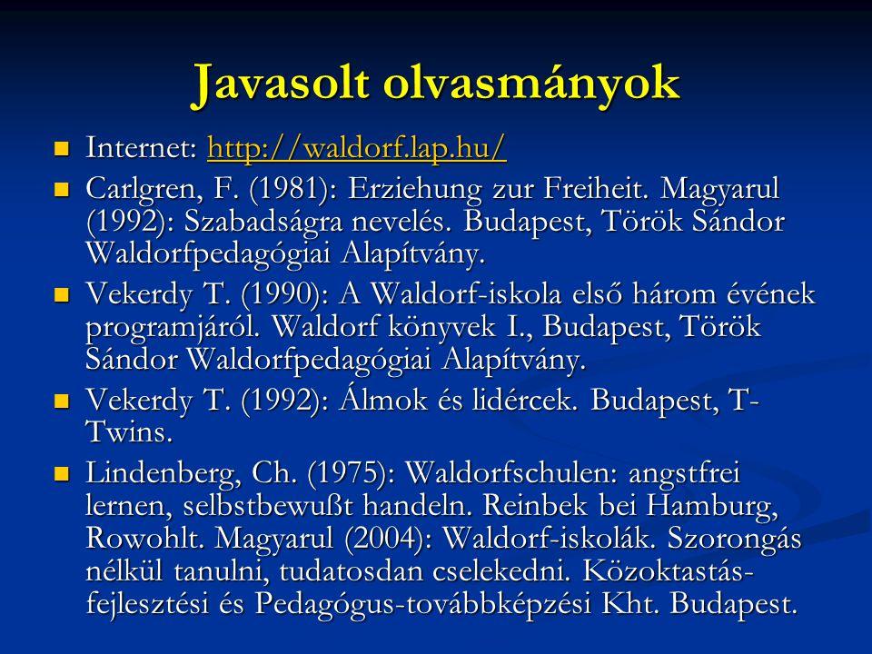 Javasolt olvasmányok Internet: http://waldorf.lap.hu/ Internet: http://waldorf.lap.hu/http://waldorf.lap.hu/ Carlgren, F. (1981): Erziehung zur Freihe