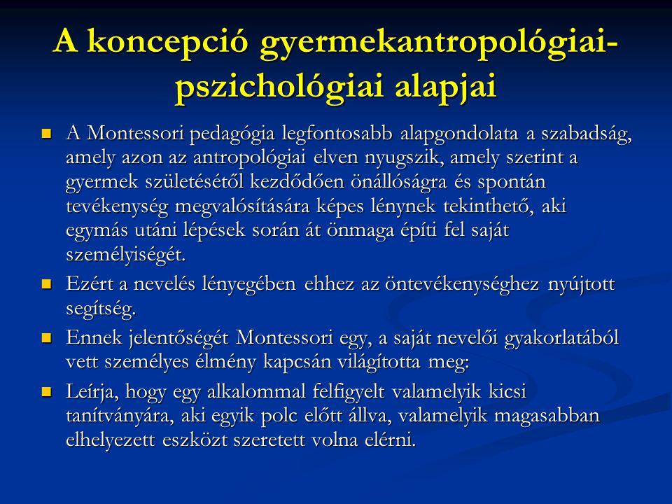 A koncepció gyermekantropológiai- pszichológiai alapjai A Montessori pedagógia legfontosabb alapgondolata a szabadság, amely azon az antropológiai elv