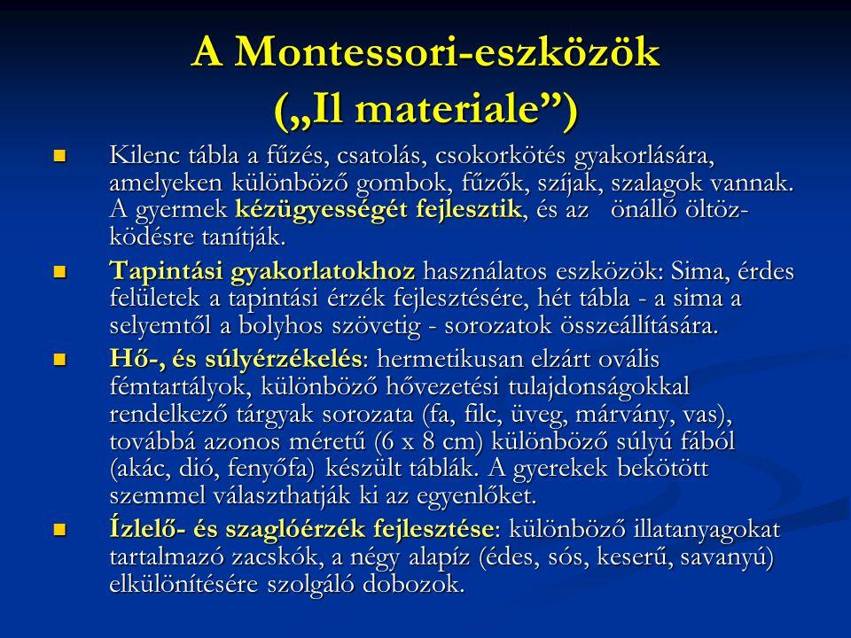 """A Montessori-eszközök (""""Il materiale"""") Kilenc tábla a fűzés, csatolás, csokorkötés gyakorlására, amelyeken különböző gombok, fűzők, szíjak, szalagok v"""