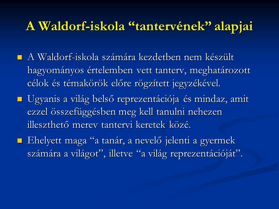 """A Waldorf-iskola """"tantervének"""" alapjai A Waldorf-iskola számára kezdetben nem készült hagyományos értelemben vett tanterv, meghatározott célok és téma"""