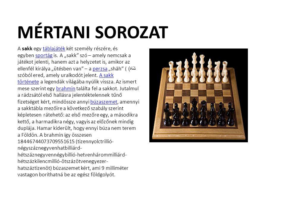 """MÉRTANI SOROZAT A sakk egy táblajáték két személy részére, és egyben sportág is. A """"sakk"""" szó – amely nemcsak a játékot jelenti, hanem azt a helyzetet"""