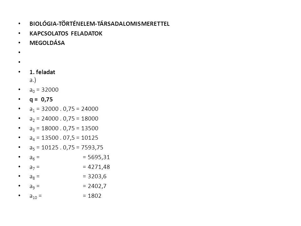 BIOLÓGIA-TÖRTÉNELEM-TÁRSADALOMISMERETTEL KAPCSOLATOS FELADATOK MEGOLDÁSA 1. feladat a.) a 0 = 32000 q = 0,75 a 1 = 32000. 0,75 = 24000 a 2 = 24000. 0,