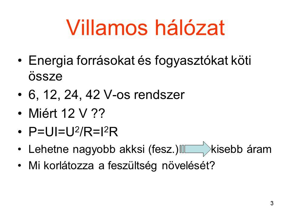 3 Villamos hálózat Energia forrásokat és fogyasztókat köti össze 6, 12, 24, 42 V-os rendszer Miért 12 V ?? P=UI=U 2 /R=I 2 R Lehetne nagyobb akksi (fe