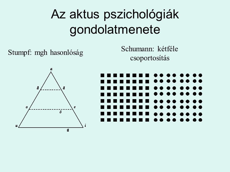 Az aktus pszichológiák gondolatmenete Stumpf: mgh hasonlóság Schumann: kétféle csoportosítás