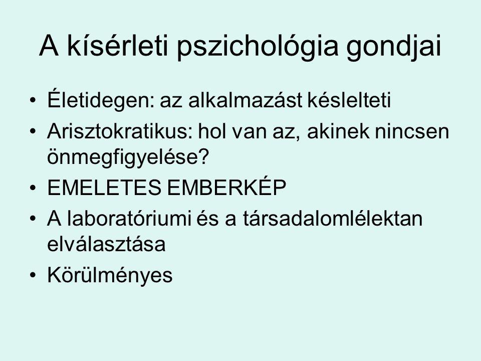 A kísérleti pszichológia gondjai Életidegen: az alkalmazást késlelteti Arisztokratikus: hol van az, akinek nincsen önmegfigyelése.
