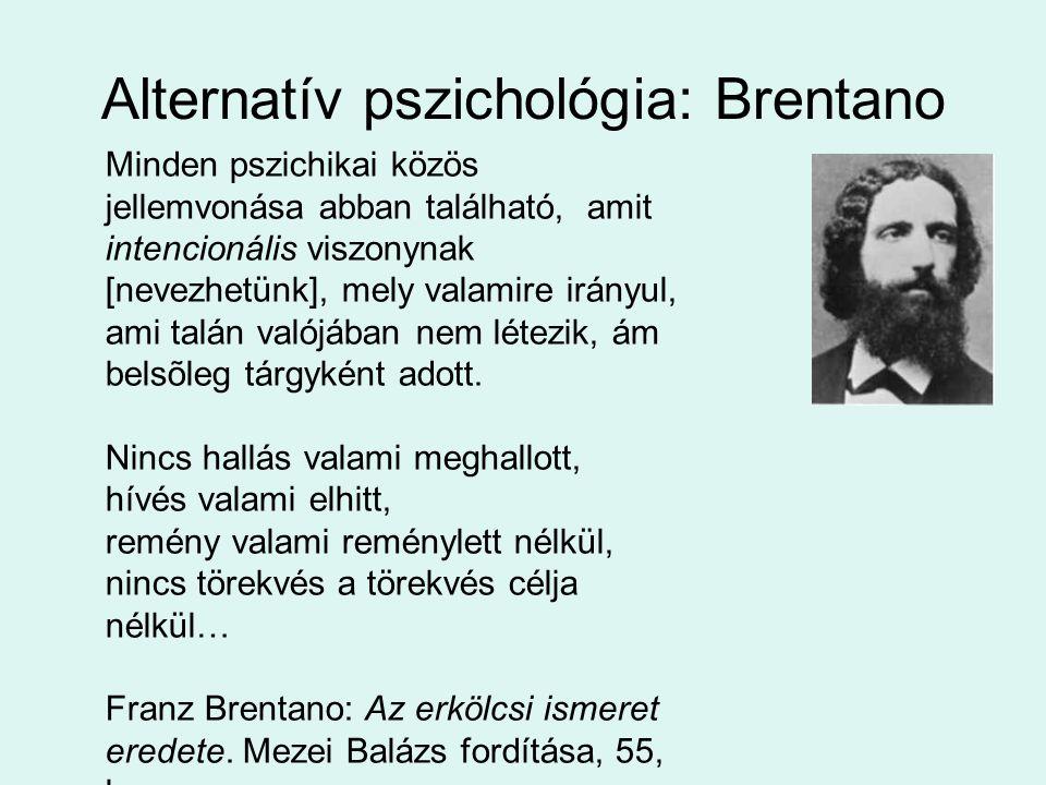 Minden pszichikai közös jellemvonása abban található, amit intencionális viszonynak [nevezhetünk], mely valamire irányul, ami talán valójában nem létezik, ám belsõleg tárgyként adott.
