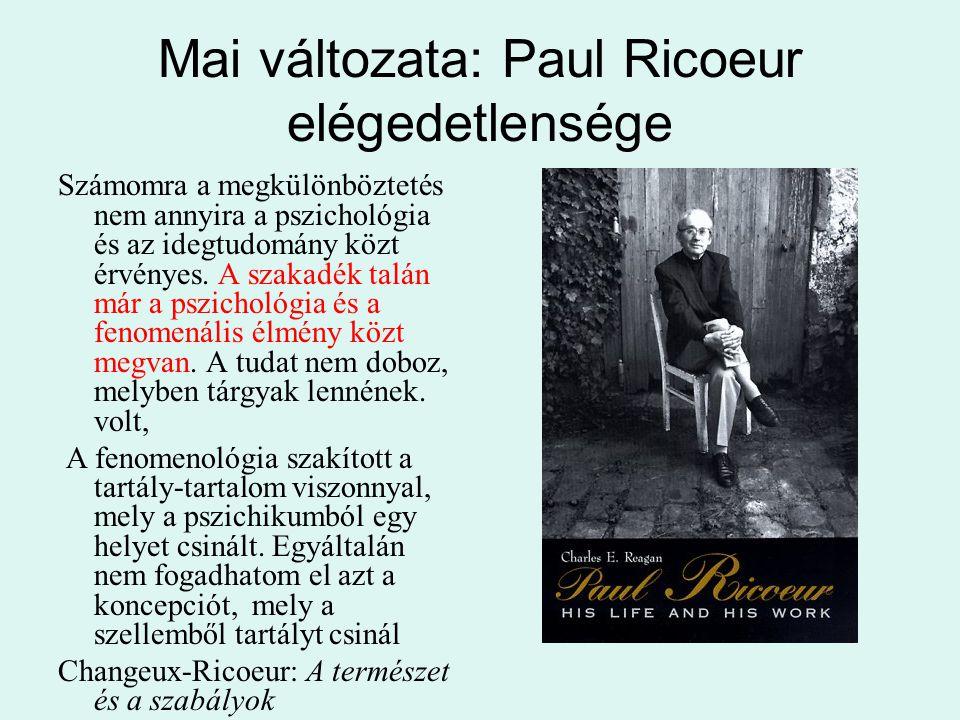 Mai változata: Paul Ricoeur elégedetlensége Számomra a megkülönböztetés nem annyira a pszichológia és az idegtudomány közt érvényes. A szakadék talán