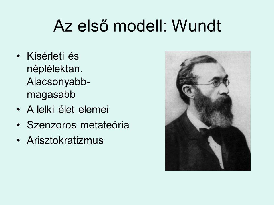 Az első modell: Wundt Kísérleti és néplélektan. Alacsonyabb- magasabb A lelki élet elemei Szenzoros metateória Arisztokratizmus
