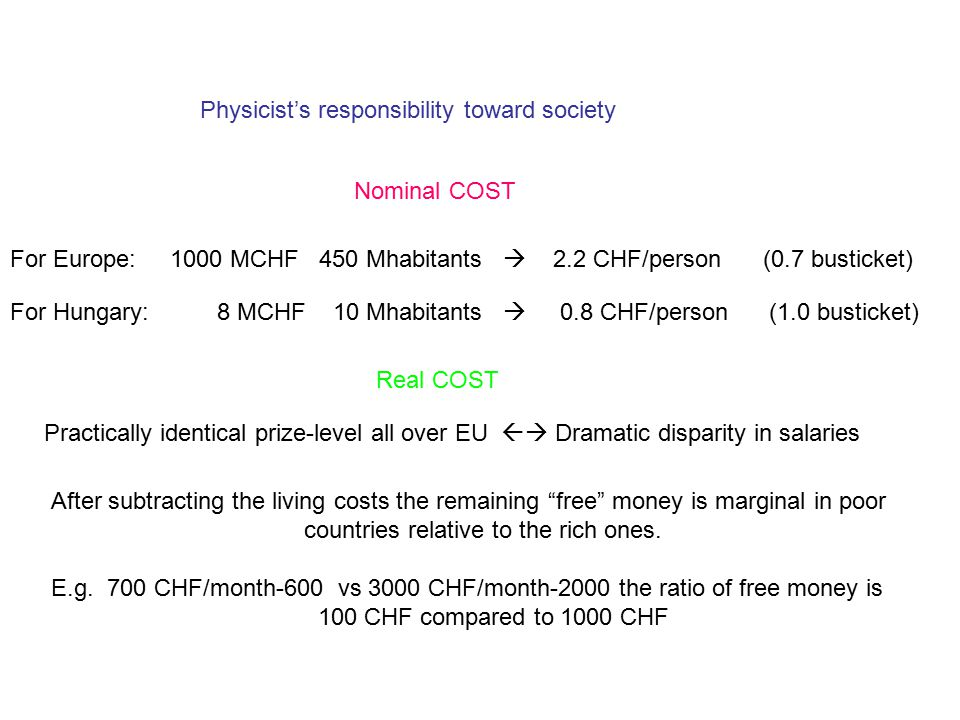 Physicist's responsibility toward society Nominal COST For Europe: 1000 MCHF 450 Mhabitants  2.2 CHF/person (0.7 busticket) For Hungary: 8 MCHF 10 Mhabitants  0.8 CHF/person (1.0 busticket) Real COST Practically identical prize-level all over EU  Dramatic disparity in salaries After subtracting the living costs the remaining free money is marginal in poor countries relative to the rich ones.