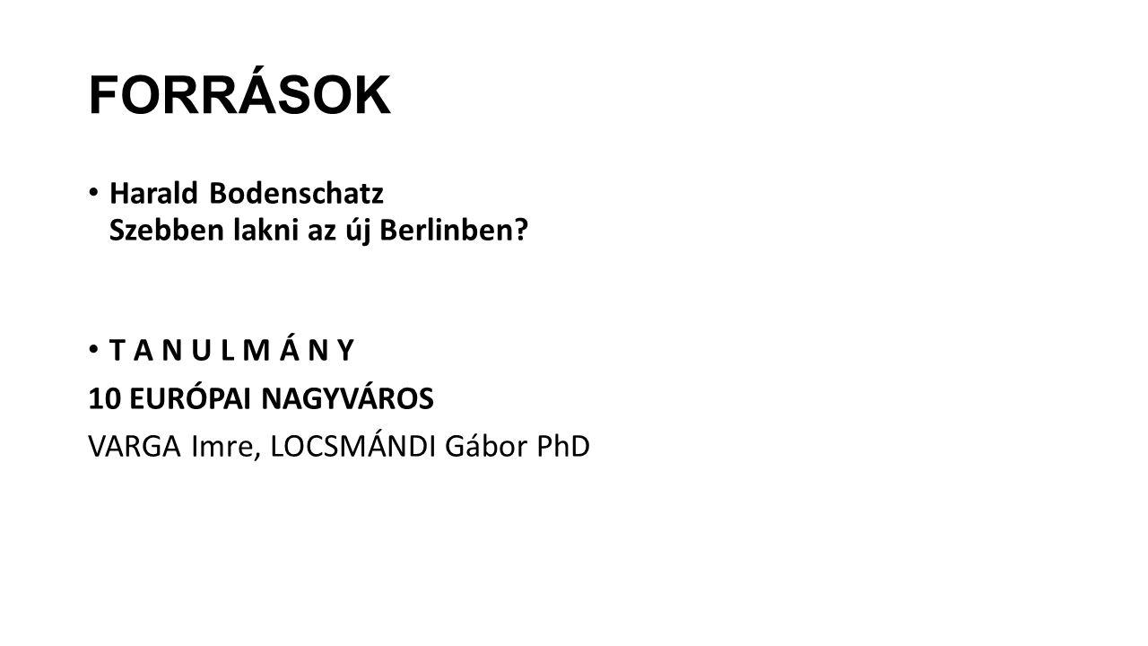 FORRÁSOK Harald Bodenschatz Szebben lakni az új Berlinben? T A N U L M Á N Y 10 EURÓPAI NAGYVÁROS VARGA Imre, LOCSMÁNDI Gábor PhD