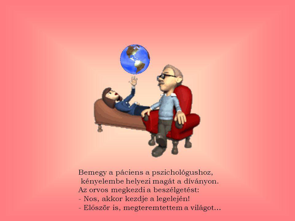 Bemegy a páciens a pszichológushoz, kényelembe helyezi magát a díványon.