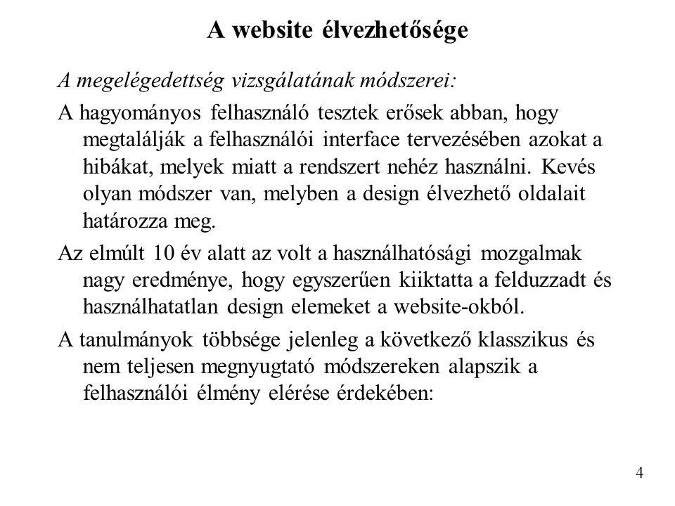 A website élvezhetősége A megelégedettség vizsgálatának módszerei: A hagyományos felhasználó tesztek erősek abban, hogy megtalálják a felhasználói interface tervezésében azokat a hibákat, melyek miatt a rendszert nehéz használni.