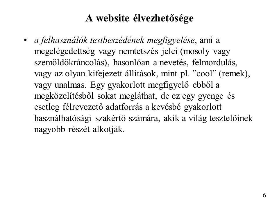 A website élvezhetősége a felhasználók testbeszédének megfigyelése, ami a megelégedettség vagy nemtetszés jelei (mosoly vagy szemöldökráncolás), hasonlóan a nevetés, felmordulás, vagy az olyan kifejezett állítások, mint pl.