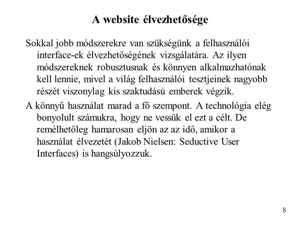 A website élvezhetősége Sokkal jobb módszerekre van szükségünk a felhasználói interface-ek élvezhetőségének vizsgálatára.