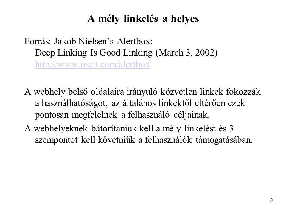 A mély linkelés a helyes Forrás: Jakob Nielsen's Alertbox: Deep Linking Is Good Linking (March 3, 2002) http://www.useit.com/alertbox http://www.useit.com/alertbox A webhely belső oldalaira irányuló közvetlen linkek fokozzák a használhatóságot, az általános linkektől eltérően ezek pontosan megfelelnek a felhasználó céljainak.