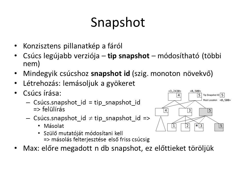 Snapshot Konzisztens pillanatkép a fáról Csúcs legújabb verziója – tip snapshot – módosítható (többi nem) Mindegyik csúcshoz snapshot id (szig.