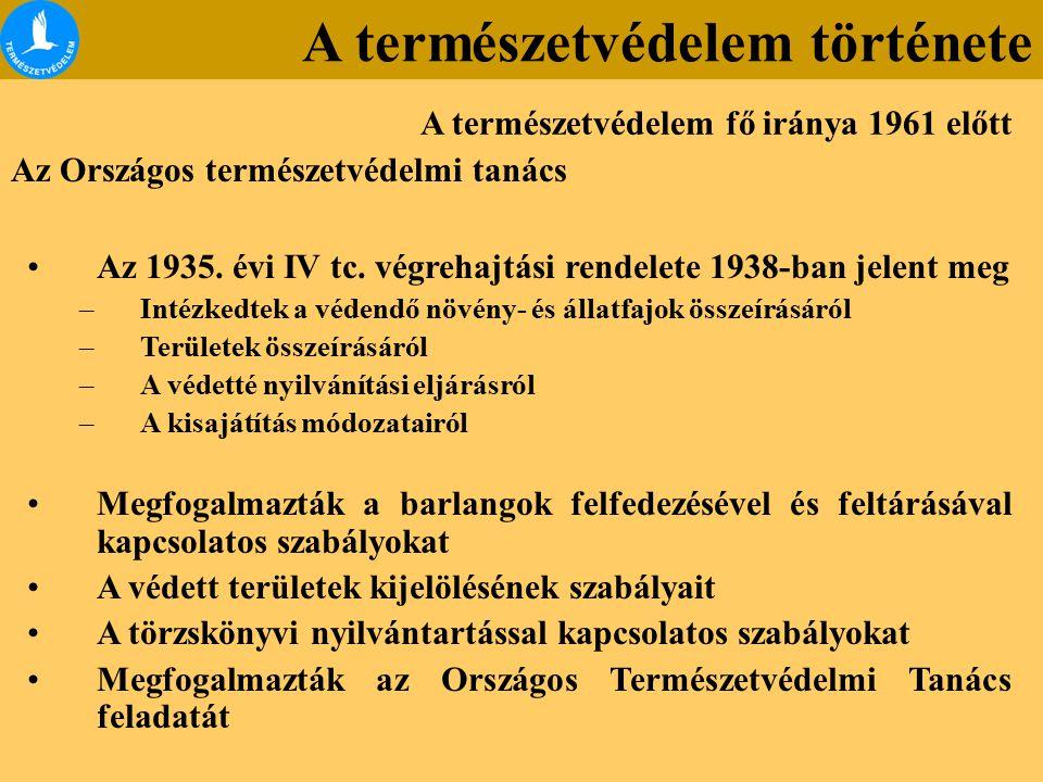 Az Országos természetvédelmi tanács Az 1935. évi IV tc. végrehajtási rendelete 1938-ban jelent meg –Intézkedtek a védendő növény- és állatfajok összeí