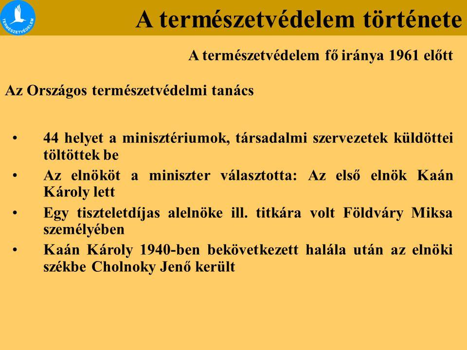 Az Országos természetvédelmi tanács 44 helyet a minisztériumok, társadalmi szervezetek küldöttei töltöttek be Az elnököt a miniszter választotta: Az első elnök Kaán Károly lett Egy tiszteletdíjas alelnöke ill.