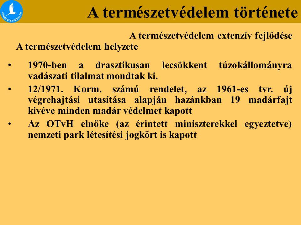 1970-ben a drasztikusan lecsökkent túzokállományra vadászati tilalmat mondtak ki. 12/1971. Korm. számú rendelet, az 1961-es tvr. új végrehajtási utasí