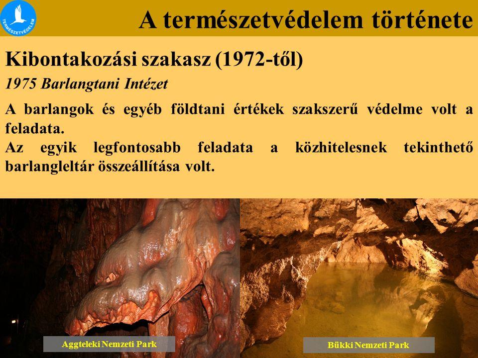 A természetvédelem története Kibontakozási szakasz (1972-től) Bükki Nemzeti Park Aggteleki Nemzeti Park 1975 Barlangtani Intézet A barlangok és egyéb földtani értékek szakszerű védelme volt a feladata.