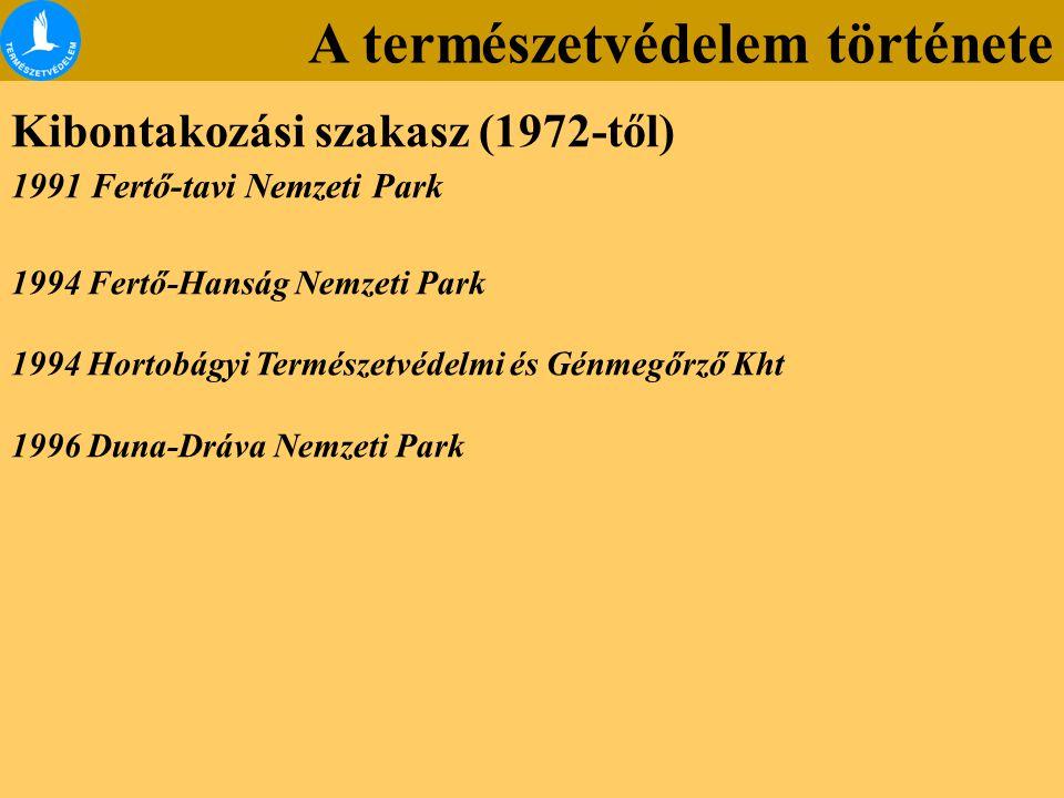 A természetvédelem története Kibontakozási szakasz (1972-től) 1991 Fertő-tavi Nemzeti Park 1994 Fertő-Hanság Nemzeti Park 1994 Hortobágyi Természetvédelmi és Génmegőrző Kht 1996 Duna-Dráva Nemzeti Park