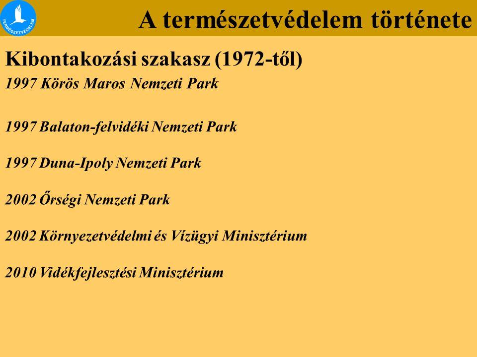 A természetvédelem története Kibontakozási szakasz (1972-től) 1997 Körös Maros Nemzeti Park 1997 Balaton-felvidéki Nemzeti Park 1997 Duna-Ipoly Nemzet