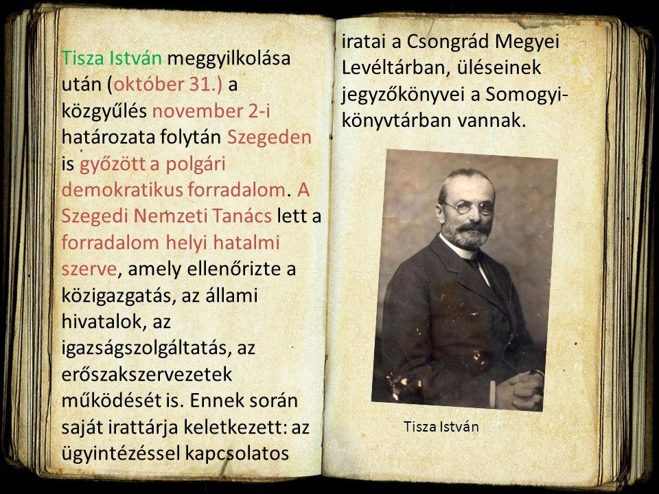 1918. szeptember 25-én Szeged közgyűlése elfogadta dr. Becsey Károlynak azt az indítványát, hogy a városi tanácsot bízza meg oly felirat szövegezéséve