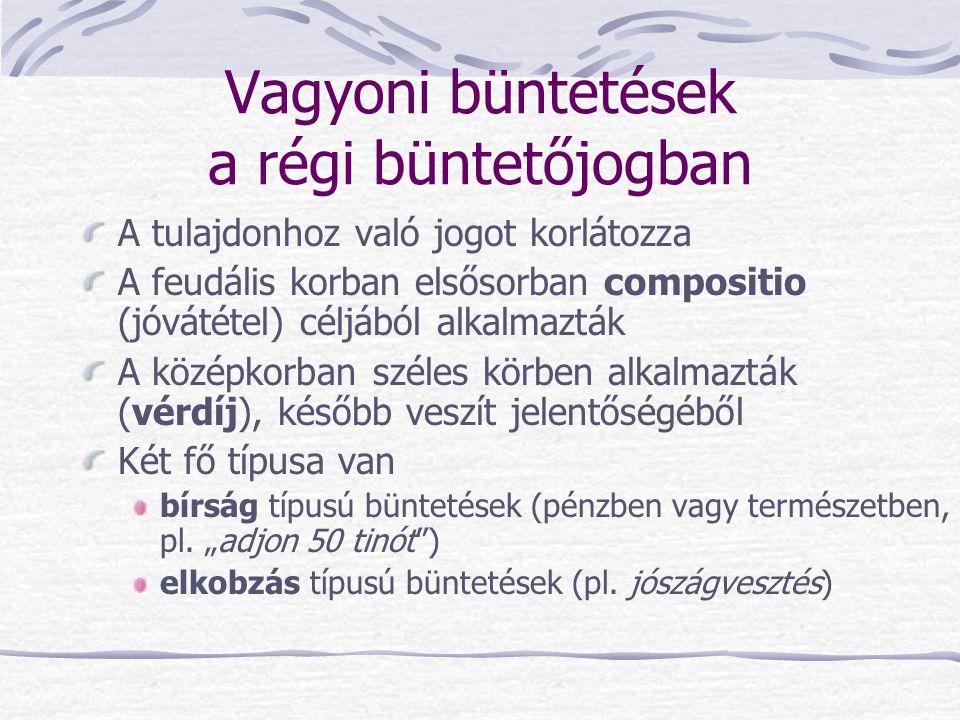 Vagyoni büntetések a régi büntetőjogban A tulajdonhoz való jogot korlátozza A feudális korban elsősorban compositio (jóvátétel) céljából alkalmazták A