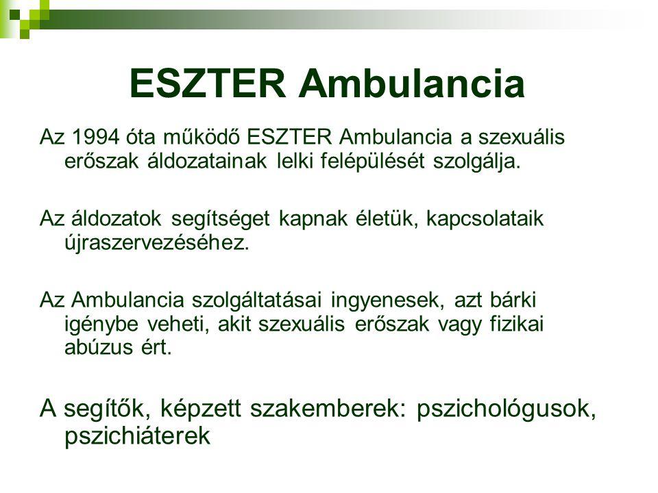 ESZTER Ambulancia Az 1994 óta működő ESZTER Ambulancia a szexuális erőszak áldozatainak lelki felépülését szolgálja. Az áldozatok segítséget kapnak él