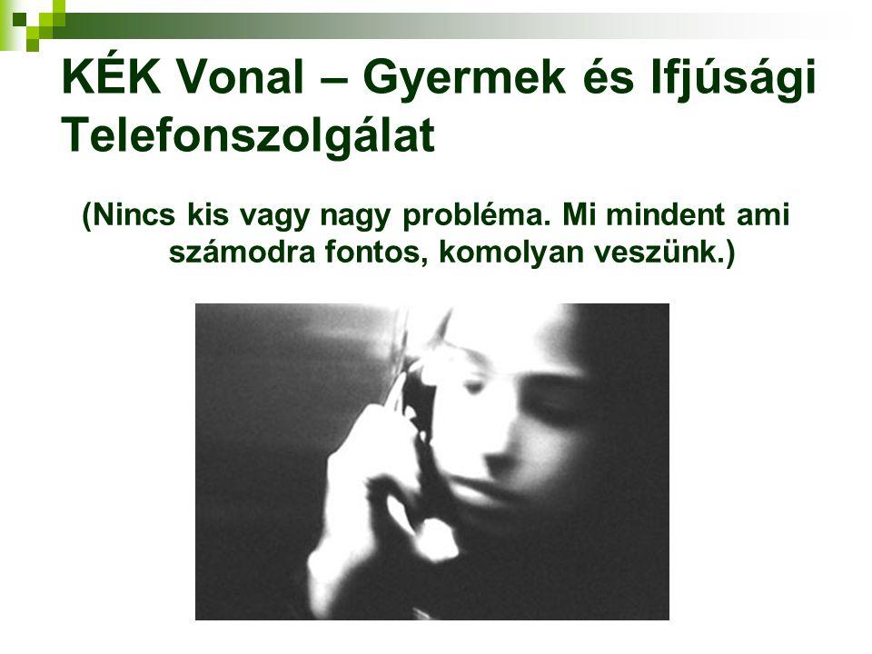 KÉK Vonal – Gyermek és Ifjúsági Telefonszolgálat (Nincs kis vagy nagy probléma. Mi mindent ami számodra fontos, komolyan veszünk.)