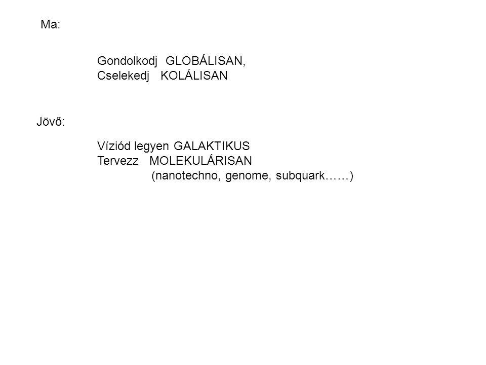 Gondolkodj GLOBÁLISAN, Cselekedj KOLÁLISAN Víziód legyen GALAKTIKUS Tervezz MOLEKULÁRISAN (nanotechno, genome, subquark……) Ma: Jövő: