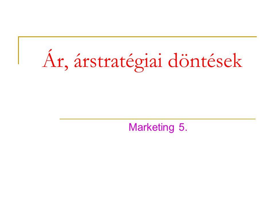 Ár, árstratégiai döntések Marketing 5.