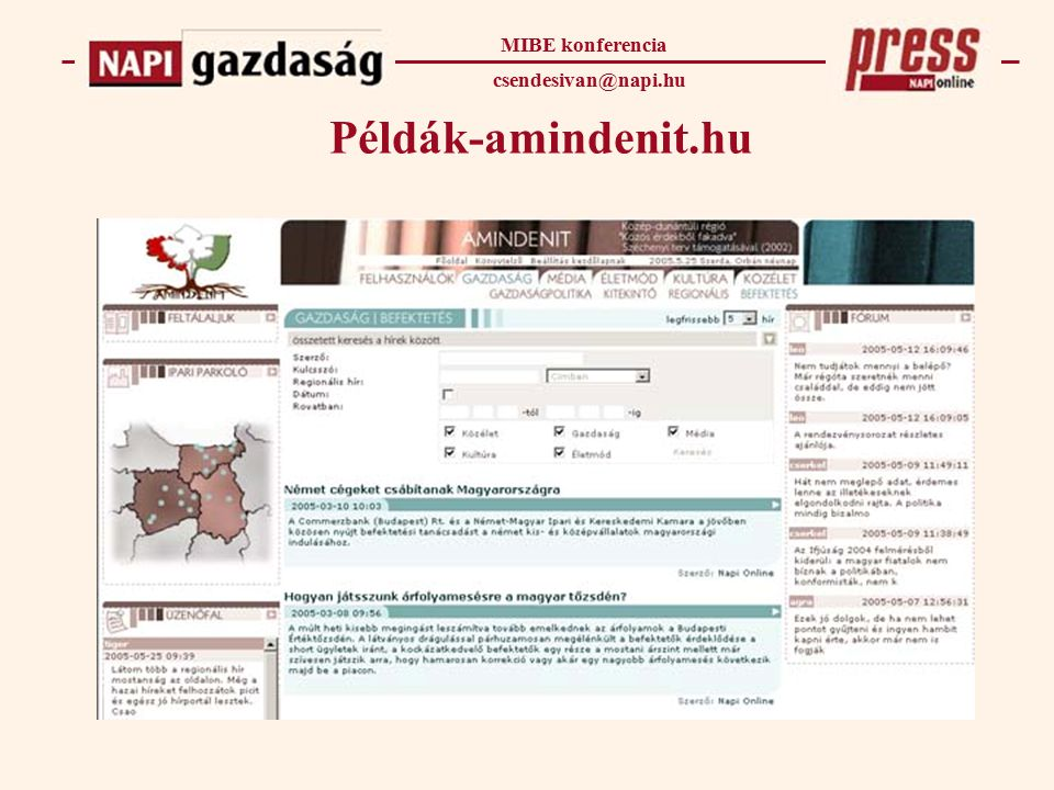 Példák-amindenit.hu MIBE konferencia csendesivan@napi.hu