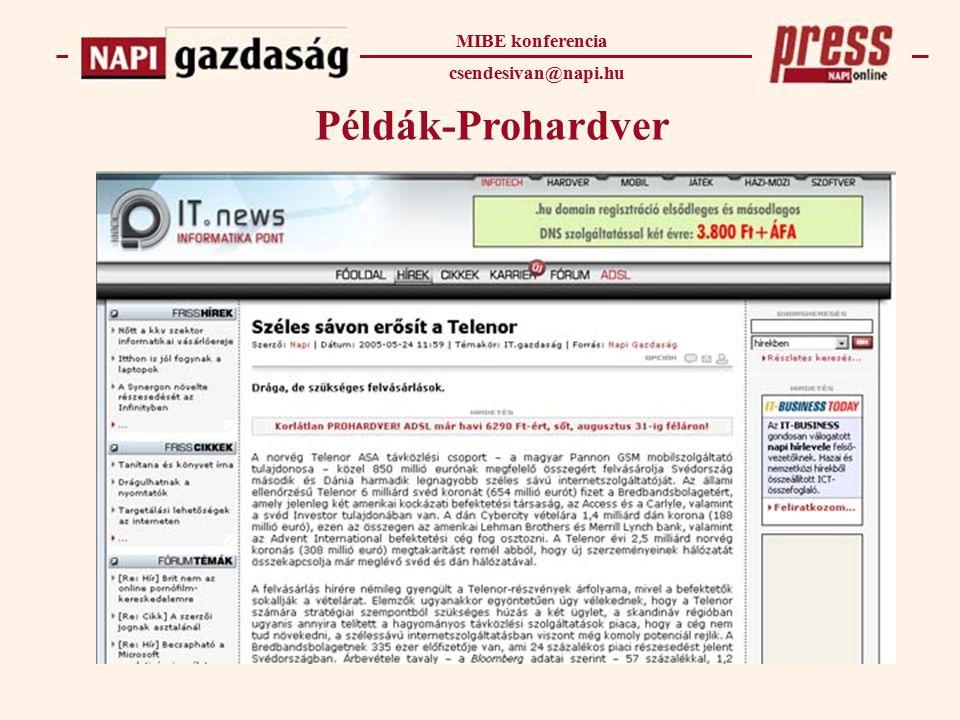 Példák-Prohardver MIBE konferencia csendesivan@napi.hu
