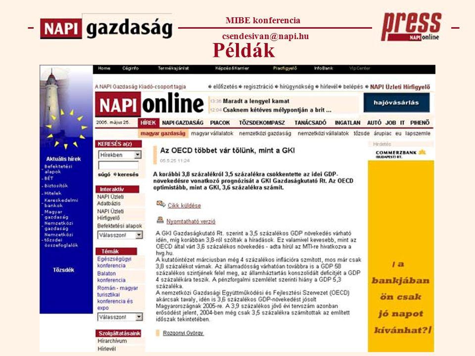 Példák MIBE konferencia csendesivan@napi.hu