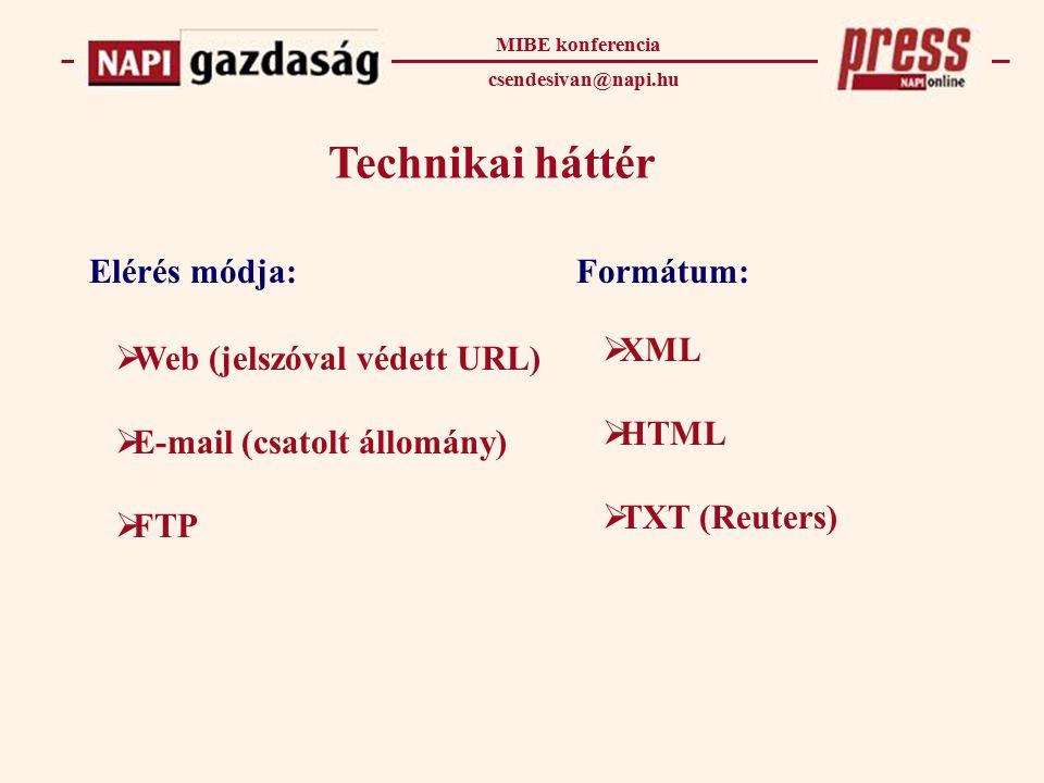 Technikai háttér MIBE konferencia csendesivan@napi.hu Elérés módja:Formátum:  Web (jelszóval védett URL)  E-mail (csatolt állomány)  FTP  XML  HTML  TXT (Reuters)