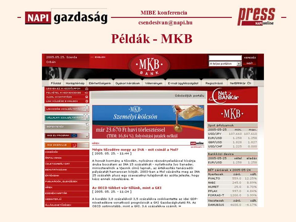 Példák - MKB MIBE konferencia csendesivan@napi.hu