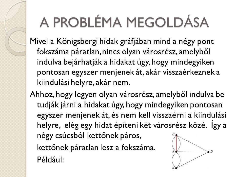 A PROBLÉMA MEGOLDÁSA Mivel a Königsbergi hidak gráfjában mind a négy pont fokszáma páratlan, nincs olyan városrész, amelyből indulva bejárhatják a hid