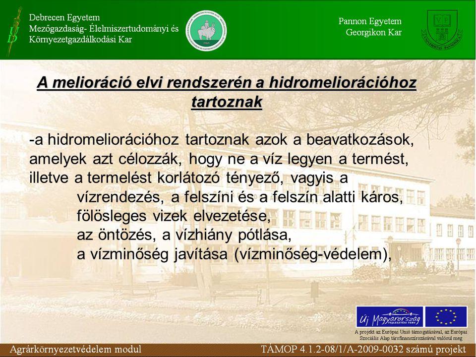 A melioráció elvi rendszerén a hidromeliorációhoz tartoznak -a hidromeliorációhoz tartoznak azok a beavatkozások, amelyek azt célozzák, hogy ne a víz