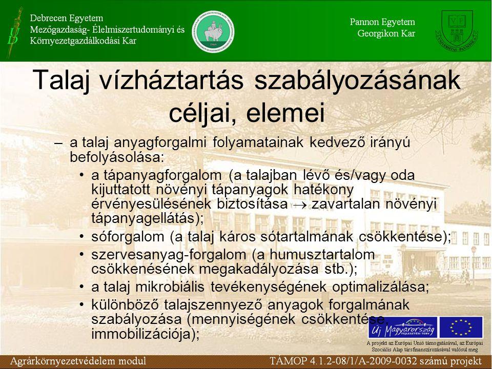 Talaj vízháztartás szabályozásának céljai, elemei –a talaj anyagforgalmi folyamatainak kedvező irányú befolyásolása: a tápanyagforgalom (a talajban lé