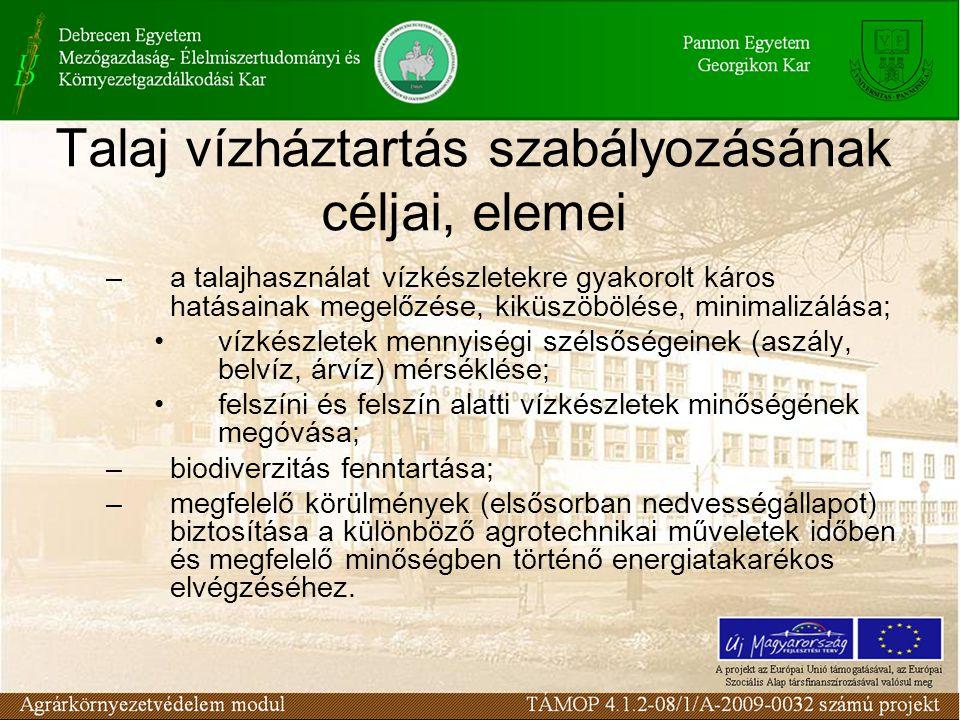 Talaj vízháztartás szabályozásának céljai, elemei –a talajhasználat vízkészletekre gyakorolt káros hatásainak megelőzése, kiküszöbölése, minimalizálás
