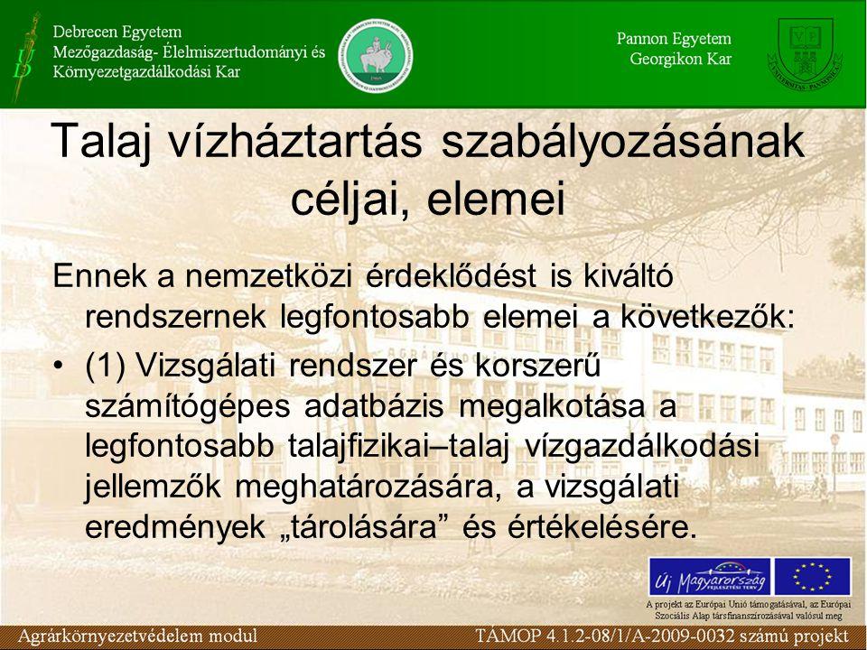 Talaj vízháztartás szabályozásának céljai, elemei Ennek a nemzetközi érdeklődést is kiváltó rendszernek legfontosabb elemei a következők: (1) Vizsgála
