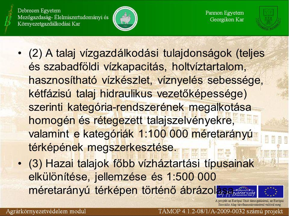 (2) A talaj vízgazdálkodási tulajdonságok (teljes és szabadföldi vízkapacitás, holtvíztartalom, hasznosítható vízkészlet, víznyelés sebessége, kétfázi