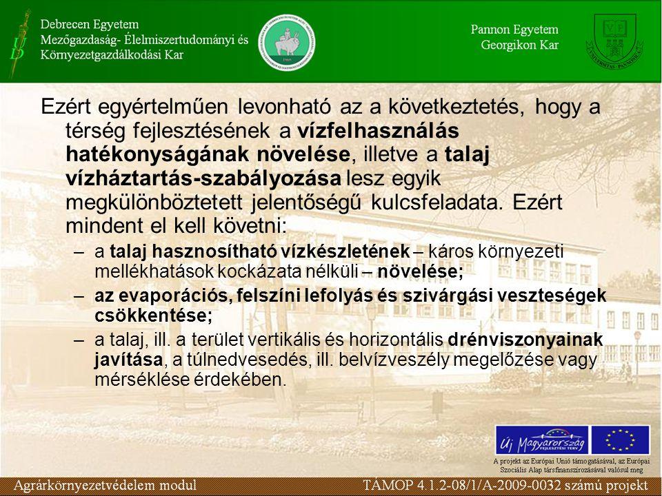 Ezért egyértelműen levonható az a következtetés, hogy a térség fejlesztésének a vízfelhasználás hatékonyságának növelése, illetve a talaj vízháztartás