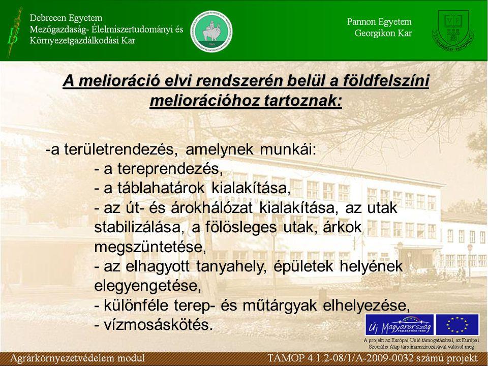 A melioráció elvi rendszerén belül a földfelszíni meliorációhoz tartoznak: -a területrendezés, amelynek munkái: - a tereprendezés, - a táblahatárok ki
