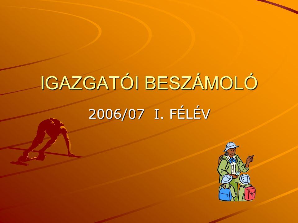 IGAZGATÓI BESZÁMOLÓ 2006/07 I. FÉLÉV